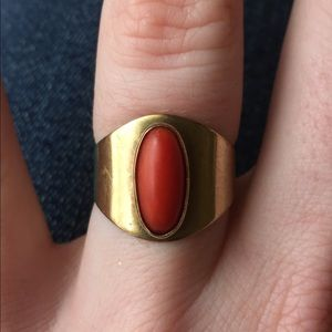 Jewelry - Solid 10k Natural Coral Wide Band Statement Ring